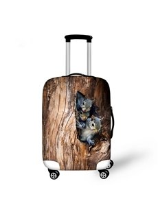Two Squirrels in Tree Hole Pattern 3D Painted Luggage Protect Cover