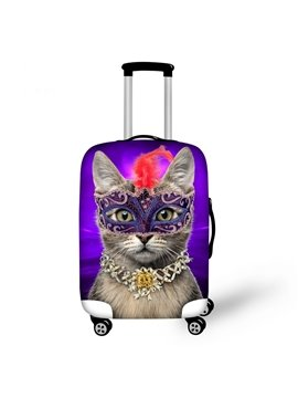 Pretty Mask Cat Lady Pattern 3D Painted Luggage Protect Cover