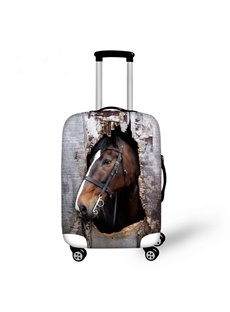 Creative Horse Outside Broken Wooden Pattern 3D Painted Luggage Cover