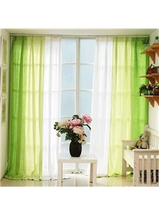 Green and White Three Colors Cloth Splicing Custom Curtain