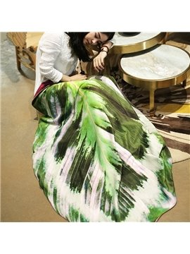 Reversible Lifelike 3D Leaf Design Coral Blanket