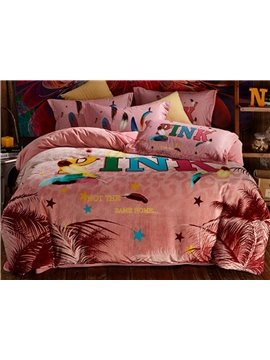 Loving Pink Letters and Feather Print 4-Piece Coral Fleece Duvet Cover Sets