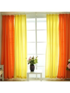 Orange and Yellow Splicing Cotton and Linen Custom Curtain