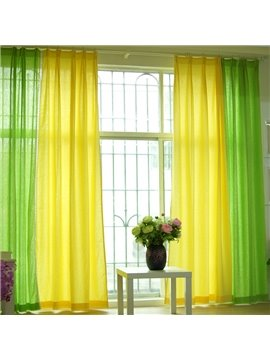 Green and Yellow Splicing Cotton and Linen Custom Curtain