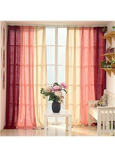 Red and Pink Three Colors Cloth Splicing Custom Curtain
