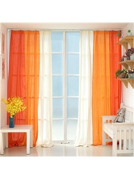 Orange and White Three Colors Cloth Splicing Custom Curtain