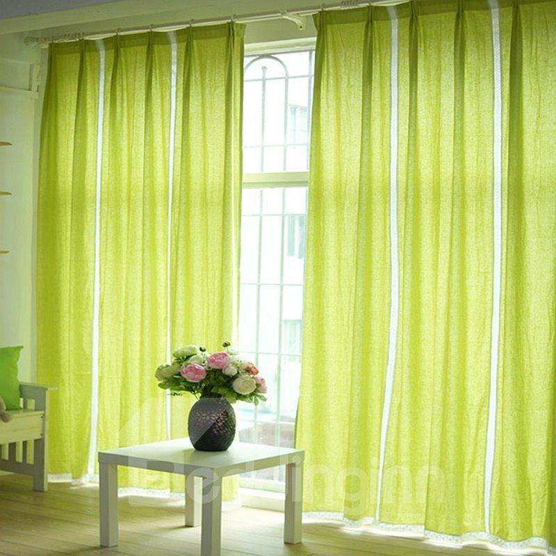 light green splicing cotton and linen custom curtain