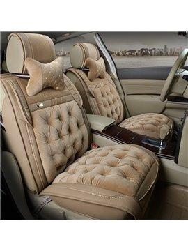 Fashion Depression Hole Design Soft Velvet Material Univeral Five Car Seat Cover