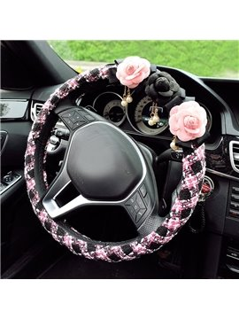 Lovely Pink Color With Three Three Beautiful Camellias Flowers Medium Car Steering Wheel Cover