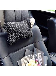 Super Cool Design With White Beautiful Camellias Flower Single Car Headrest Pillow