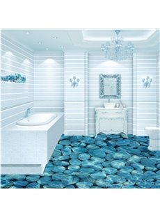 Blue Pebbles in the Limpid Water Print Home Decorative Waterproof 3D Flower Sets