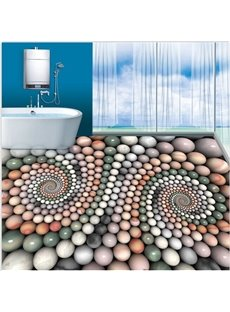 Creative Modern Design Colorful Round Cobbles Pattern Waterproof 3D Floor Murals