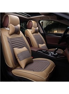 Textured Contrast Color Style With PU Leather And Flax Mixing Universal Five Car Seat Cover