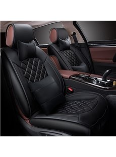 Fashion Grid Design Durable Easy Clean PU Leather Universal Five Car Seat Cover