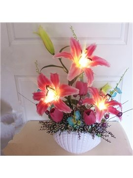 Creative Country Style Lily Design LED Artificial Flower Sets