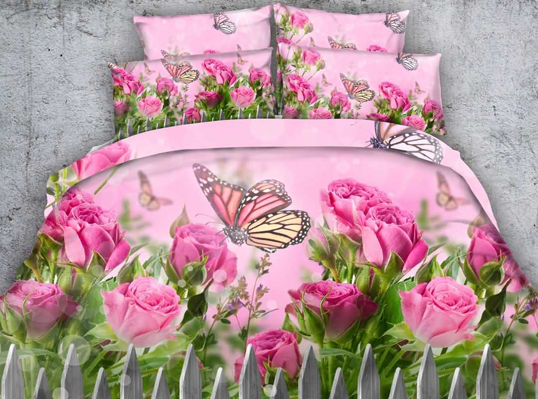 Adorable Pink Rose and Butterfly Print 5-Piece Comforter Sets