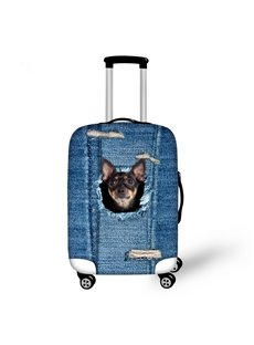 Cute Black Dog Denim Pattern 3D Painted Luggage Protect Cover