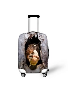 Brown Horse with Wooden Pattern 3D Painted Luggage Cover