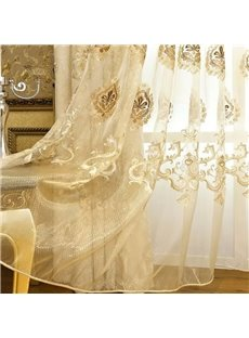 Chenille Embroidered Custom Sheer Curtain Panel