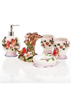 Red Bird in the Tree Ceramics 6-Pieces Bathroom Accessories and Flower Vases