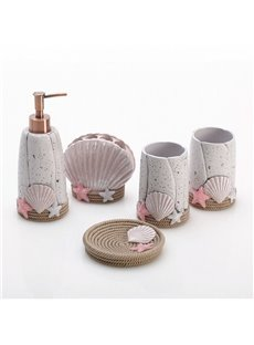 Cute Shell Design Resin 5-Pieces Bathroom Accessories
