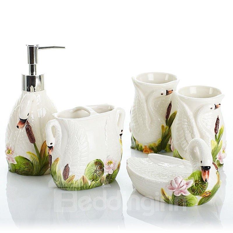 lovely white swan design ceramics 5 pieces bathroom accessories
