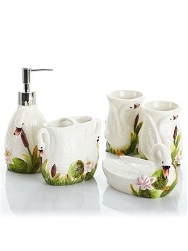 Lovely White Swan Design Ceramics 5-Pieces Bathroom Accessories