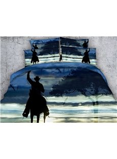 Western Cowboy on Horse Shadow Print 5-Piece Comforter Sets
