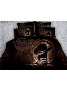 Super Cool Cowboy Hat On Boots Print 5-Piece Comforter Sets