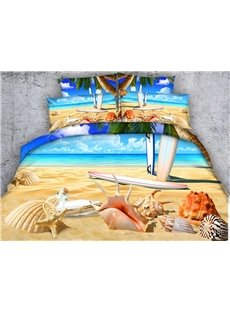 Sea Shell and Starfish on Tropical Beach Print 4-Piece Duvet Cover Sets