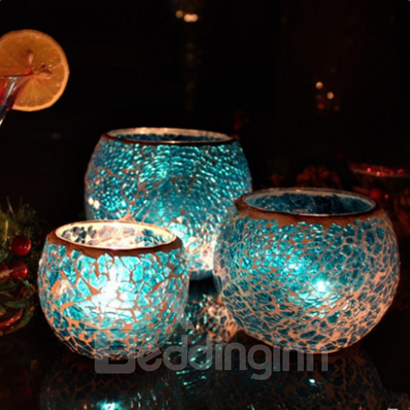 Blue Sparkling 3 Pieces European Style Romantic Candle Holder beddinginn