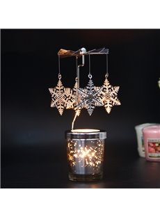 Creative Design Rotatable Snowflakes Design Candle Holder