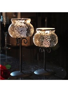 Elegant Silver Metal and Glass Design Home Decorative Candle Holders