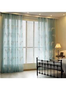 Dreamy Feather Embroidery Blue Custom Sheer Curtain