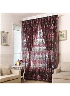 Ornate Peony Printing Custom Sheer Curtain