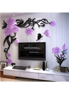 Purple and Black Acrylic Flower Design Home Decorative 3D Wall Stickers