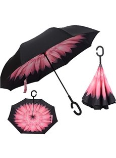 Fabulous Flower Pattern Double Layer Windproof Reverse Umbrella