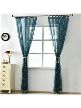 Flower Embroidery Blue Custom Sheer Curtain