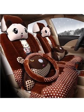 Lovely And Cute Cartoon Element Pillow With Comfortable Material Five Universal Car Seat Cover