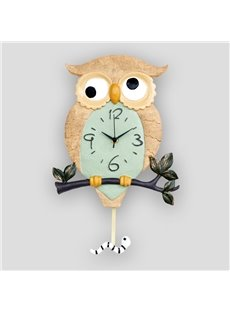 Cute Resin Owl Standing on the Branch Design Mute Decorative Wall Clock