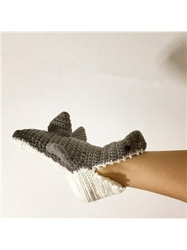 Vivid Shark Design 100% Handmade Knitted Sock Indoor Shoes