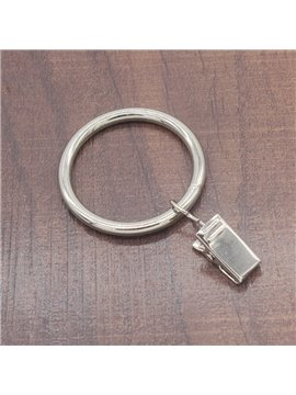 30 Count 1-3/8-Inch Sliver Color Metal Curtain Rings with Clip for Windows