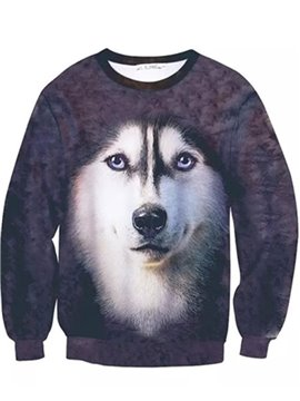 Popular Long Sleeve Husky Pattern Inner Suede 3D Painted Hoodie