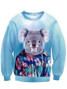 Long Sleeve Koala Sir Pattern Inner Suede 3D Painted Hoodie