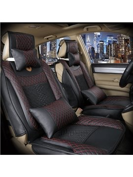 High Cost-Effective Durable PU Leather And Cool Ice Silk Material Mixing Universal Car Seat Cover