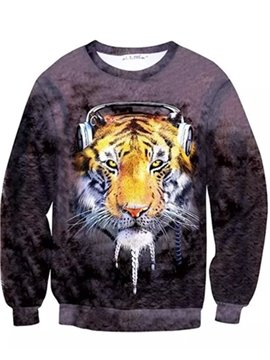 Long Sleeve Music Tiger Pattern Inner Suede 3D Painted Hoodie