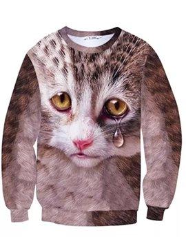 Special Long Sleeve Tearful Cat Pattern Inner Suede 3D Painted Hoodie
