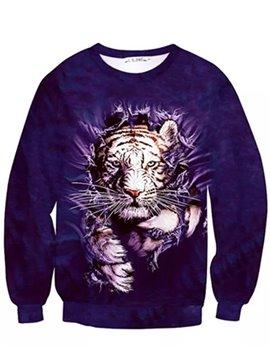 Fashion Long Sleeve Tiger Pattern Inner Suede 3D Painted Hoodie