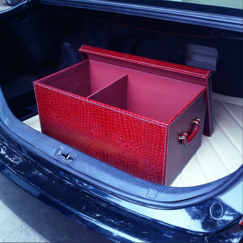 Fresh Red Color High Capacity With Pu Leather Material Car Trunk Organizer