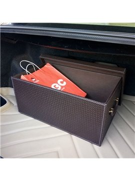 Classic Coffee Style High Capacity Foldable PU Leather Car Trunk Organizer